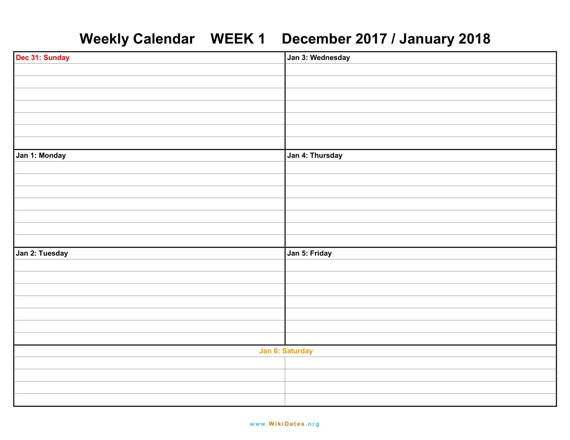 Weekly Calendar - Download weekly calendar 2017 and 2018 ...