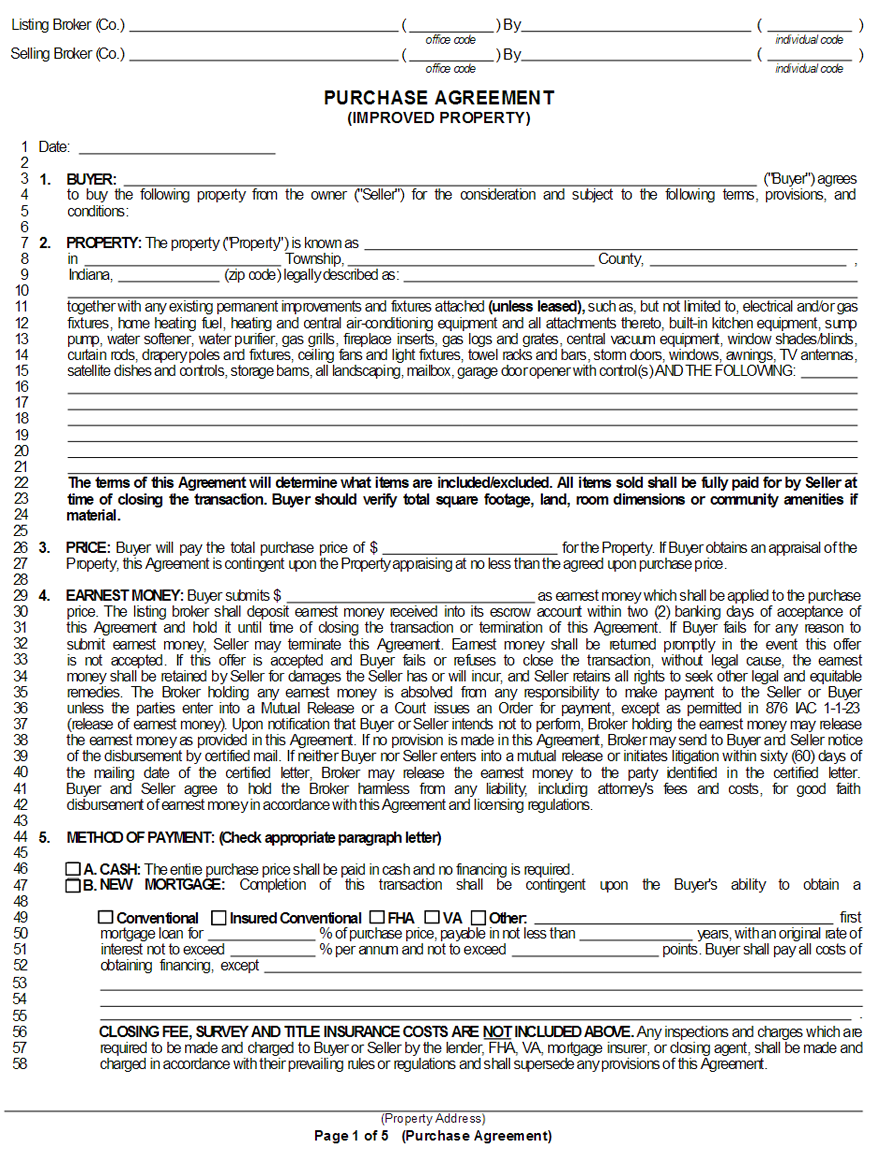 Free Indiana Purchase And Sale Agreement Form WikiForm