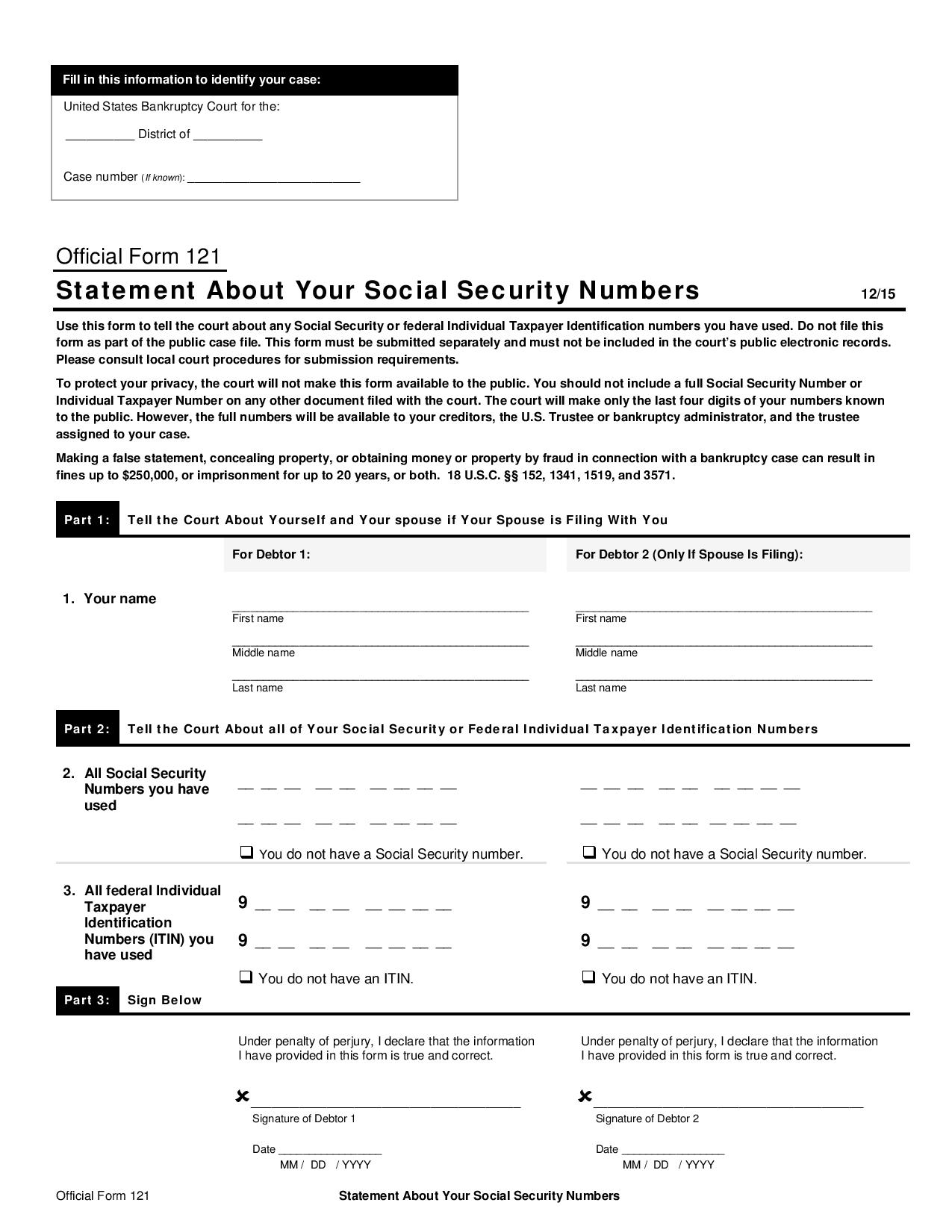 Free Official Form 121 Statement About Your Social