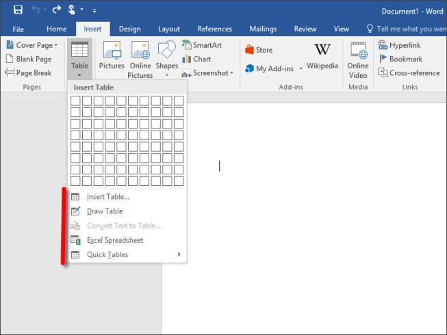 How to Use Quick Tables on Word 2016