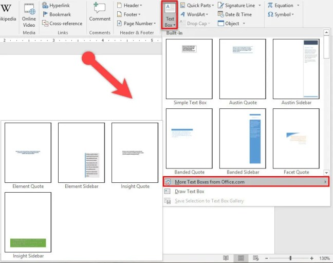 Choose Text Box {Text Group} in Microsoft Word 2016