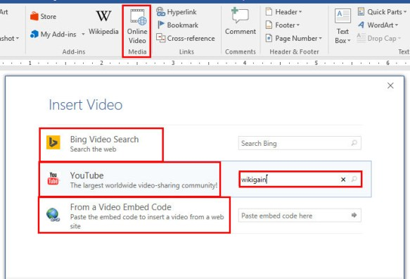 Insert Online Video and Comment in Microsoft Word 2016
