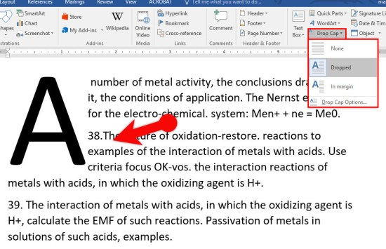 Insert WordArt and Add Drop Cap in Microsoft Word 2016