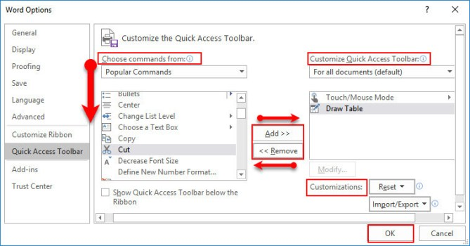 Customize Quick Access Toolbar in Microsoft Office 2016