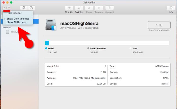 Fixed Erase Process Has Failed on macOS High Sierra