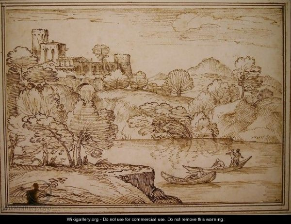 classical landscape with boats