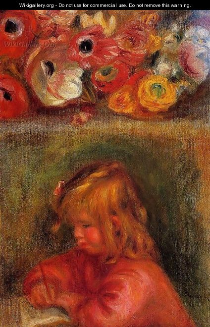 Portrait Of Coco And Flowers - Pierre Auguste Renoir