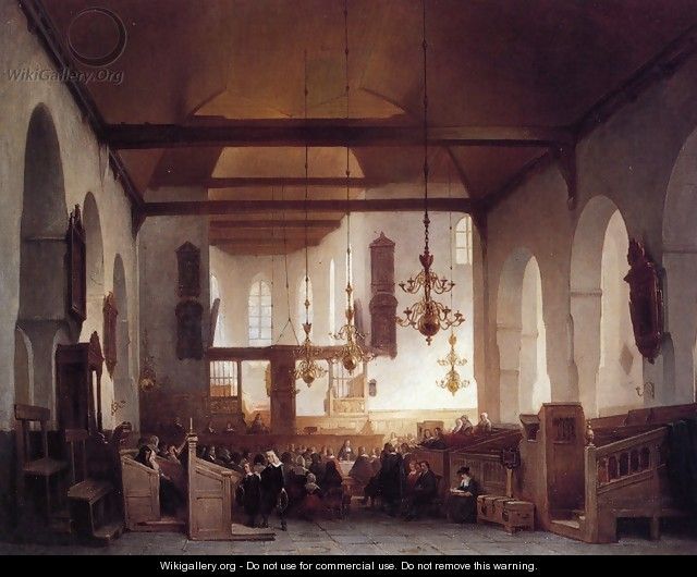 Communion Service: Avondmaalsviering in the Geertekerk, Utrecht - Johannes Bosboom