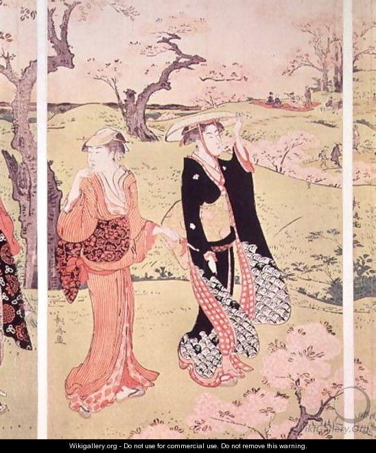 Cherry Blossoms at Asakayama near Edo - Torii Kiyonaga