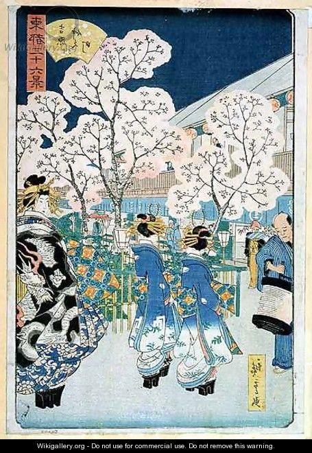 Cherry Blossom at Asakura - Utagawa or Ando Hiroshige
