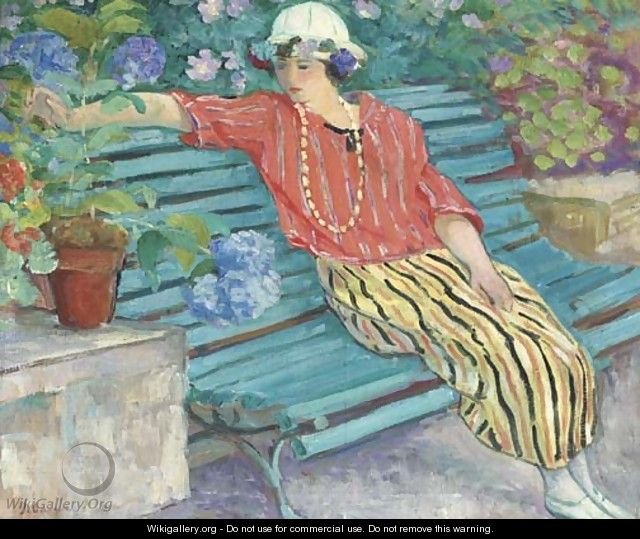 Jeune femme aux hortensias - Henri Lebasque