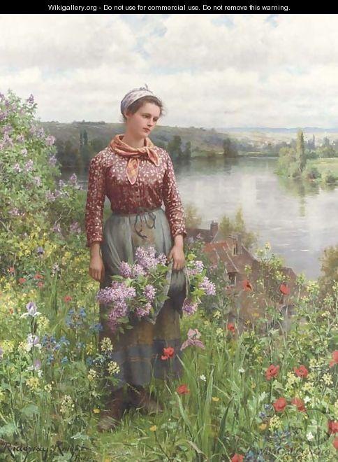 Gathering Lilacs - Daniel Ridgway Knight