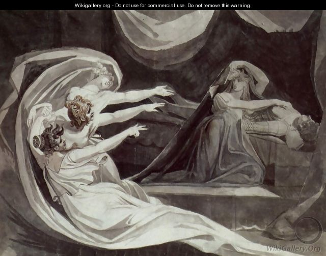 Kriemhild is haunted by her remorse - Johann Heinrich Fussli