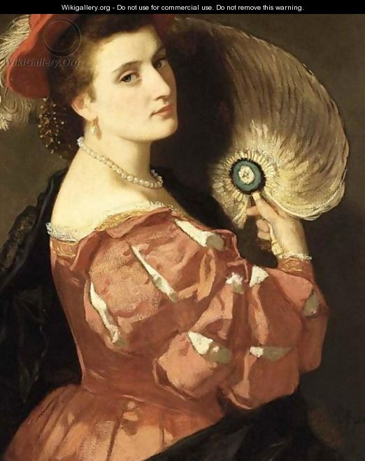 A Portrait Of An Elegant Lady Holding A Fan - Carl Ludwig Friedrich Becker