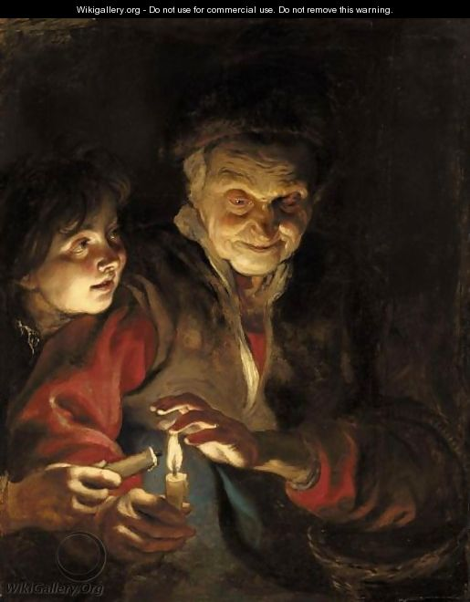 A Night Scene With An Old Lady Holding A Basket And A Candle, A Young Boy At Her Side About To Light His Candle From Hers - Peter Paul Rubens