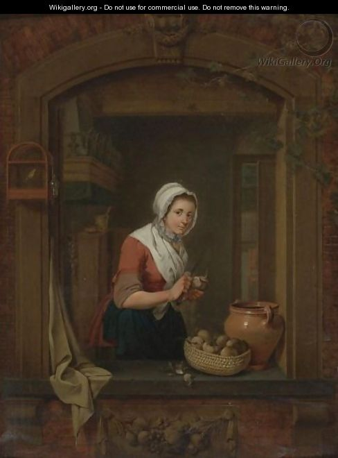 Young Woman At A Window Pealing Radishes - Jacobus Johannes Lauwers