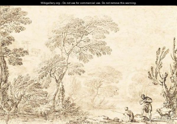 river landscape with man fishing