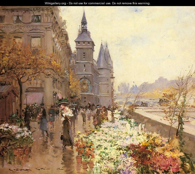 A Flower Market Along the Seine - Georges Stein