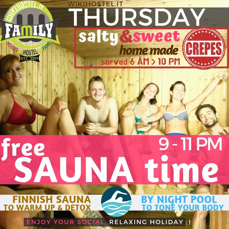 WIKI HOSTEL FREE SAUNA TIME thursday
