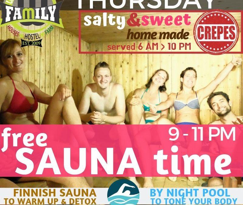 Wiki Hostel FREE SAUNA time!