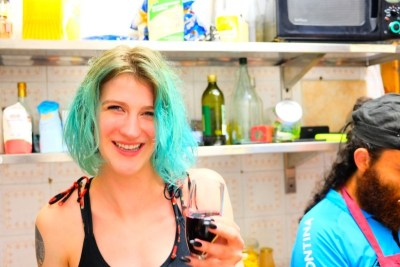 WIKI HOSTEL PASTA PARTY wine girl blue hair