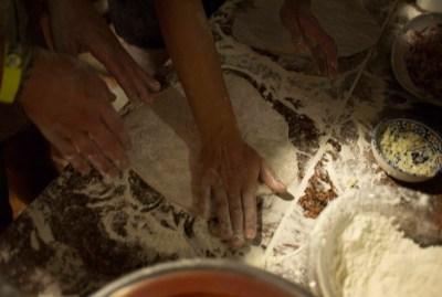 WIKI HOSTEL PIZZA PARTY hands flour