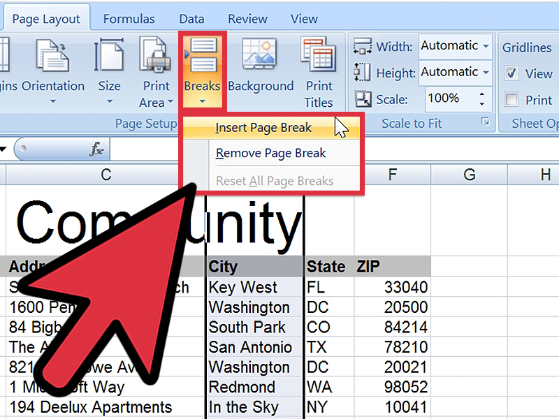 How To Insert A Page Break In An Excel Worksheet 6 Steps
