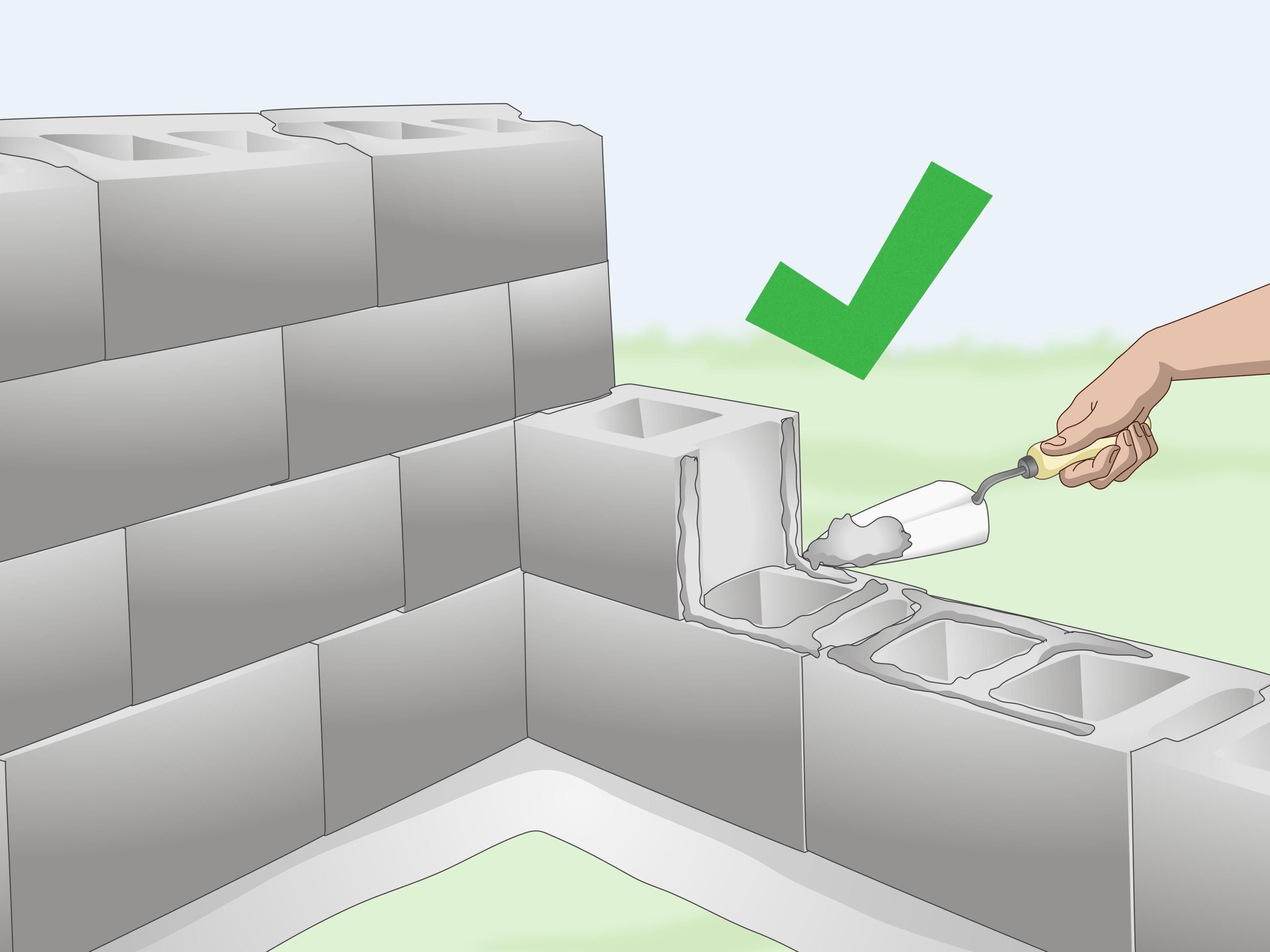 How to Build a Cinder Block Wall with Pictures  wikiHow