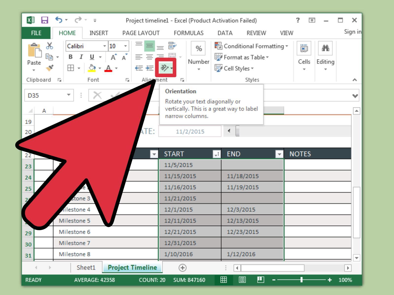 In Excel Eine Zeitachse Erstellen Wikihow