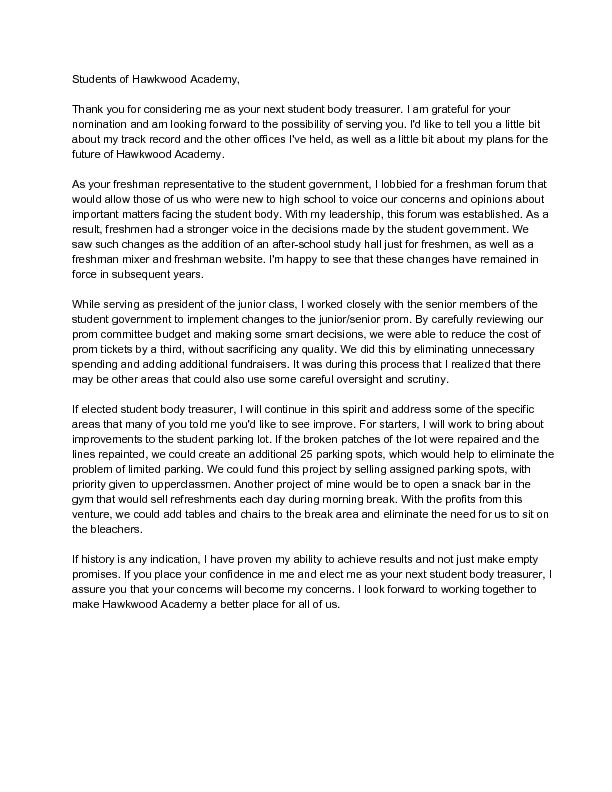 Sample High School Treasurer Speech  wikiHow
