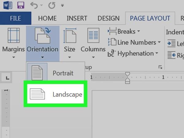 change page landscape