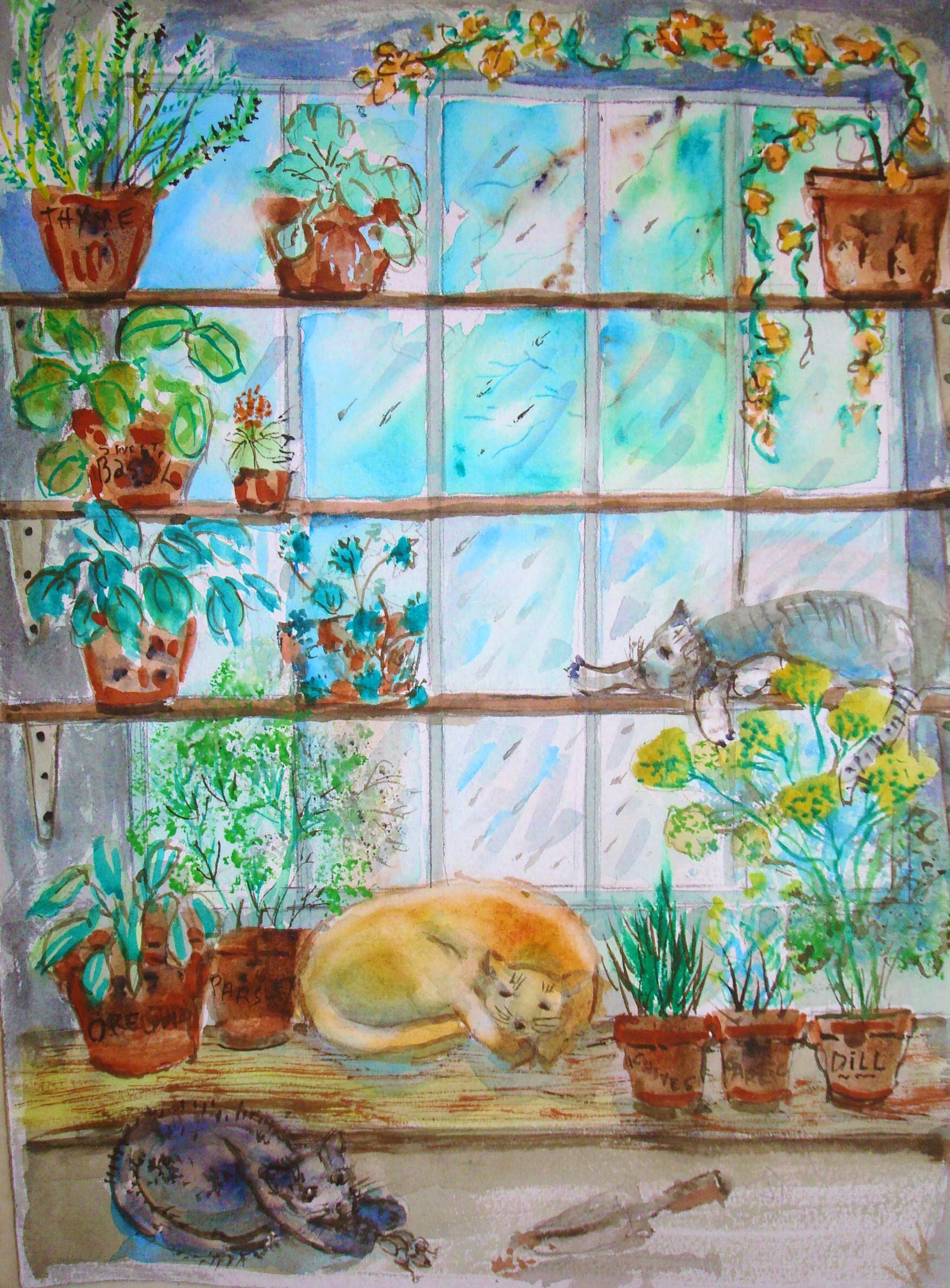 How to Paint an Indoor Herb Garden in Watercolor with Pictures