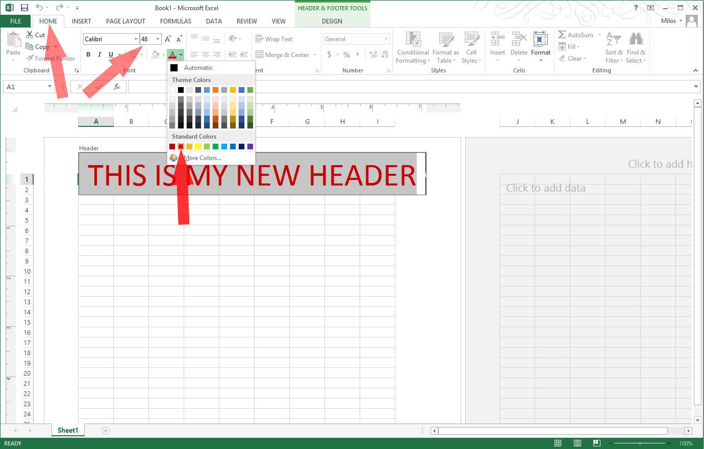 Worksheet Add Header