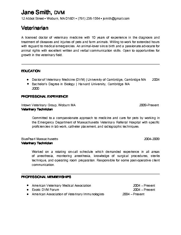 Veterinarian Resume Examples Veterinarian Sample Resume