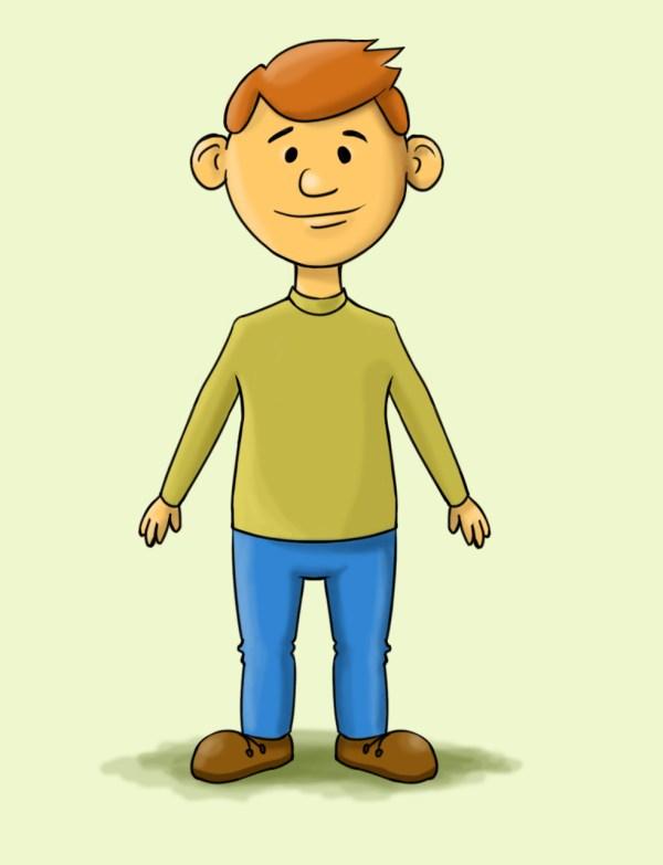draw cartoon man 15 steps