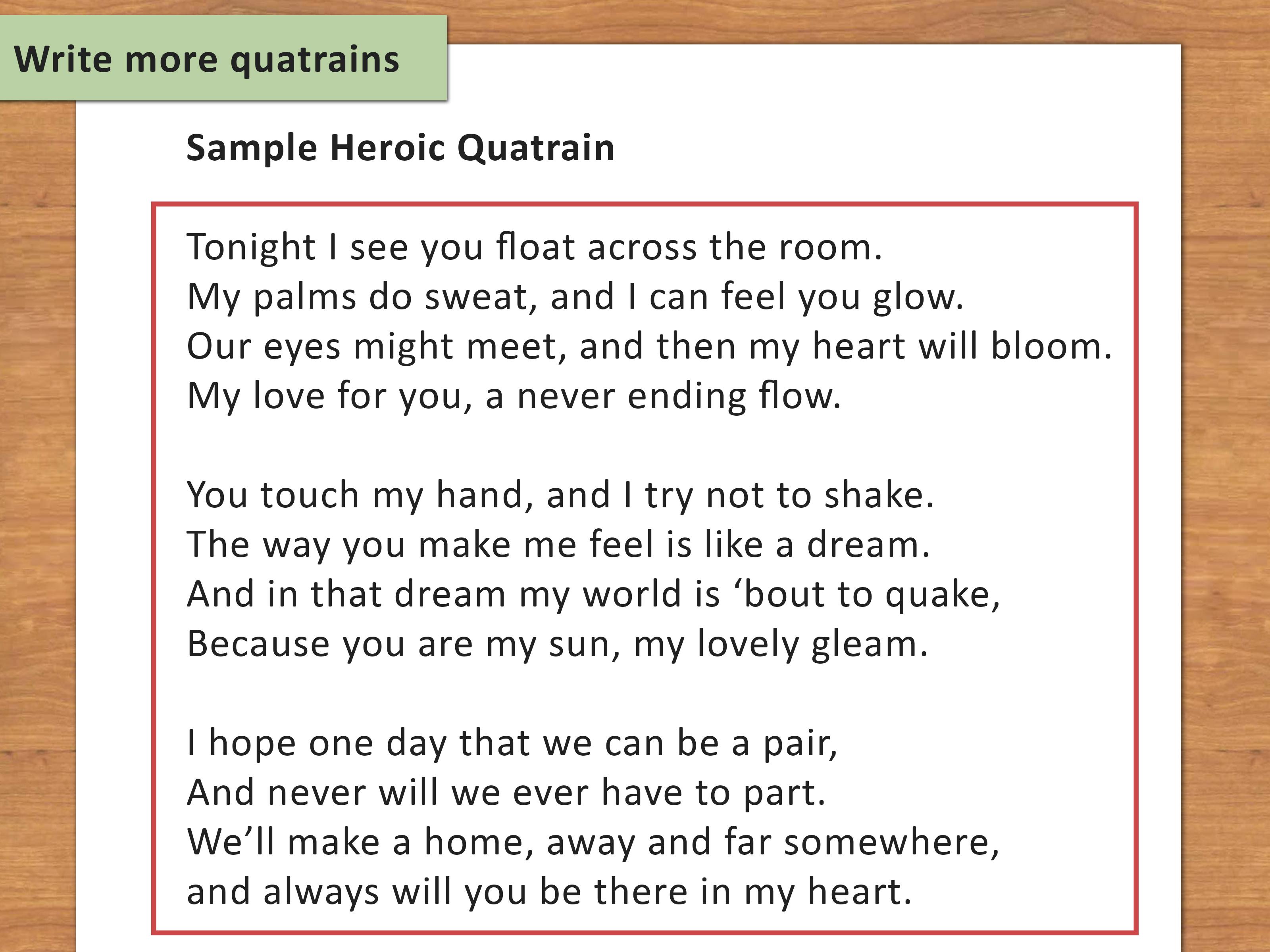 How To Write A Quatrain Poem With Sample Quatrains WikiHow