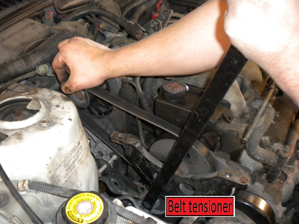 medium resolution of how to install a new belt tensioner with pulley for serpentine belt on plymouth voyager v6 mid 1990 early 2000 years