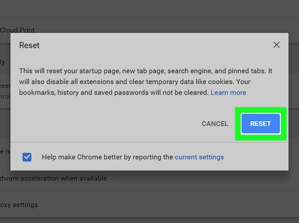 Google Chrome Settings Screen - Year of Clean Water