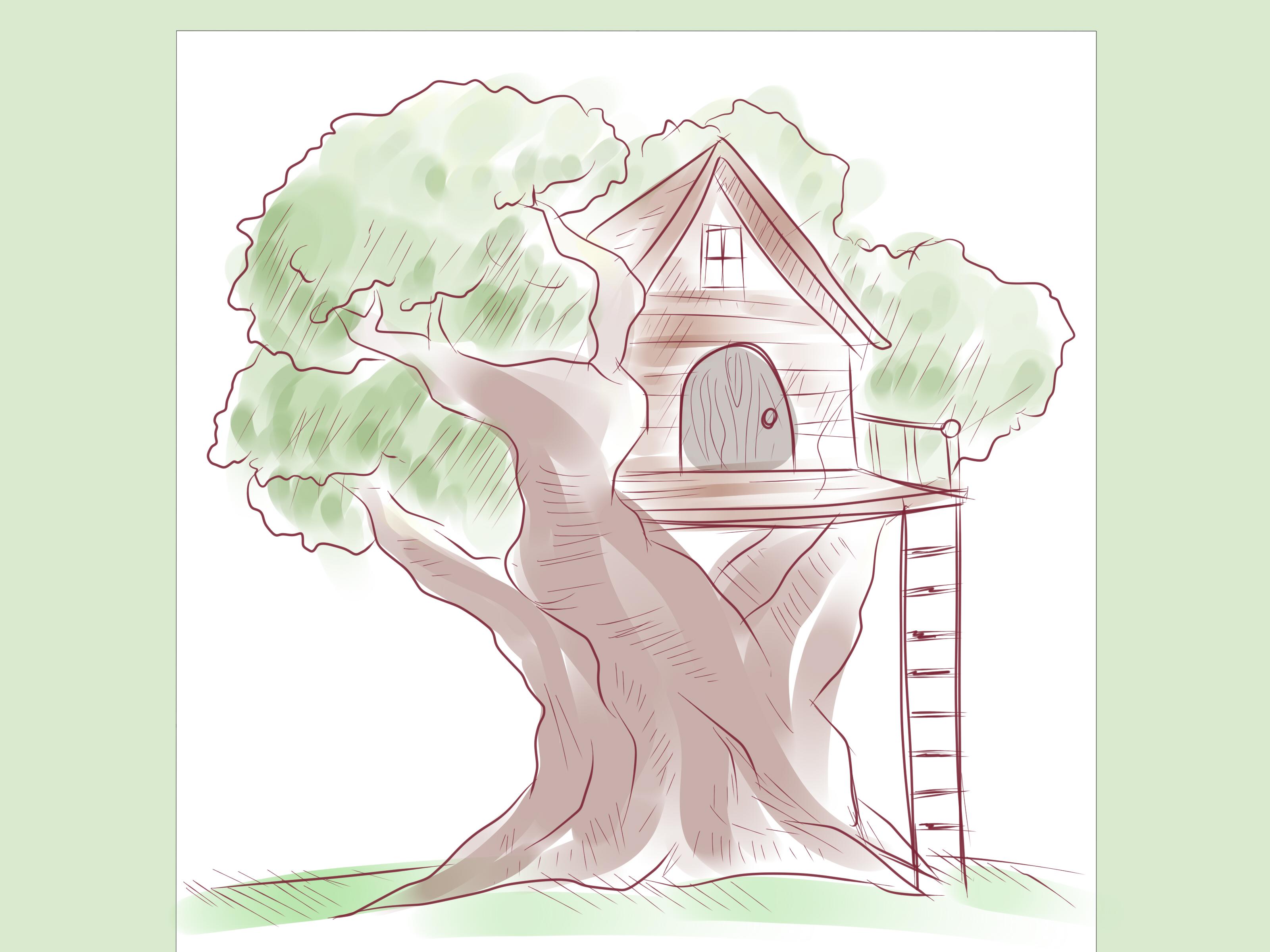 Cartoon Tree House Drawing