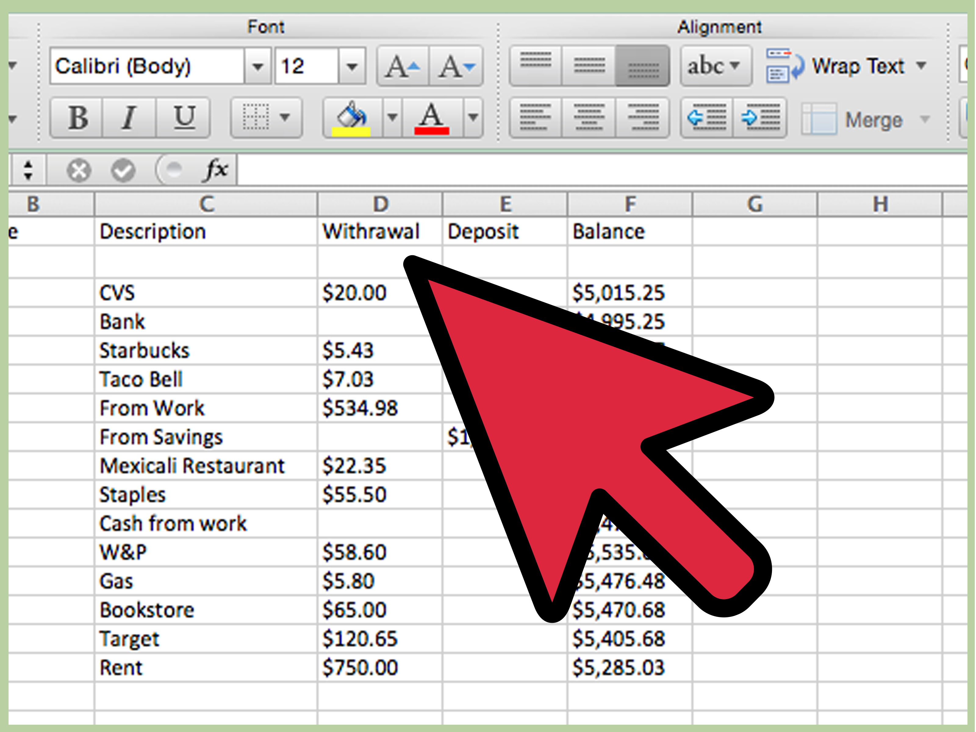 How To Create A Simple Checkbook Register With Microsoft