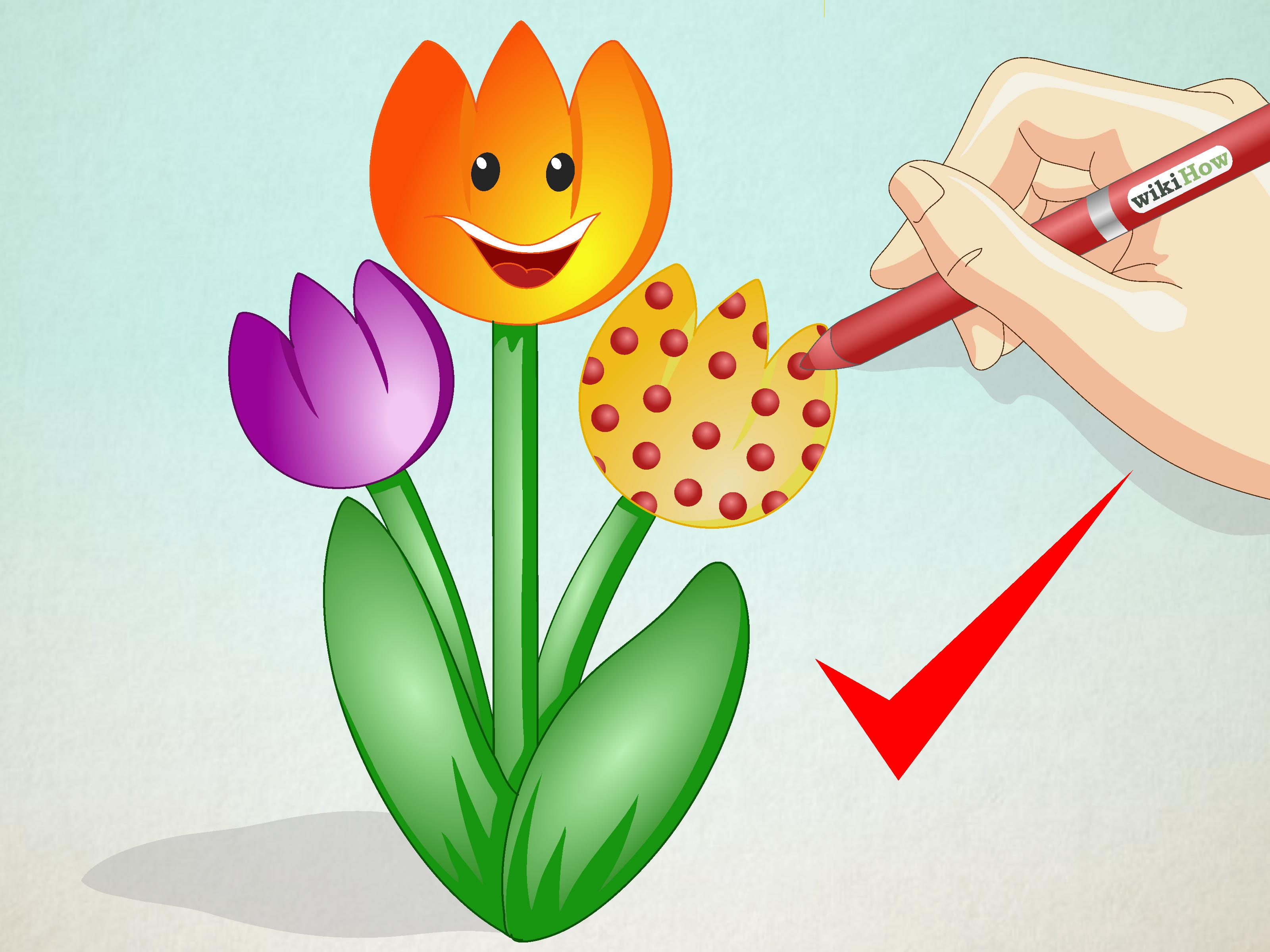Eine Tulpe zeichnen  wikiHow