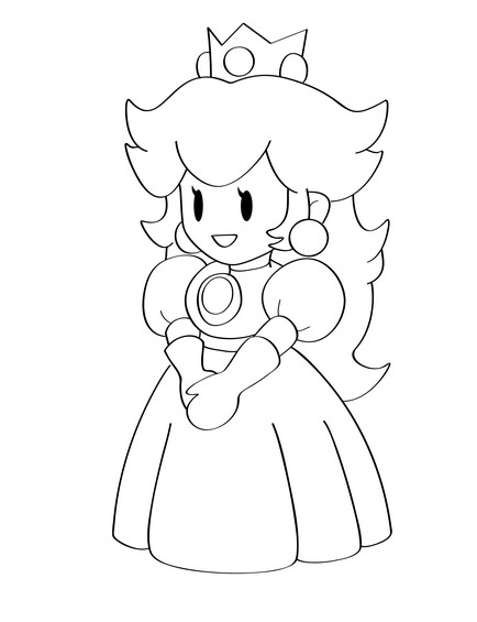 Step By Step How To Draw Princess Peach From Super Mario