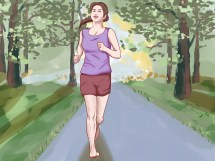 Cartoon Girl Running Barefoot