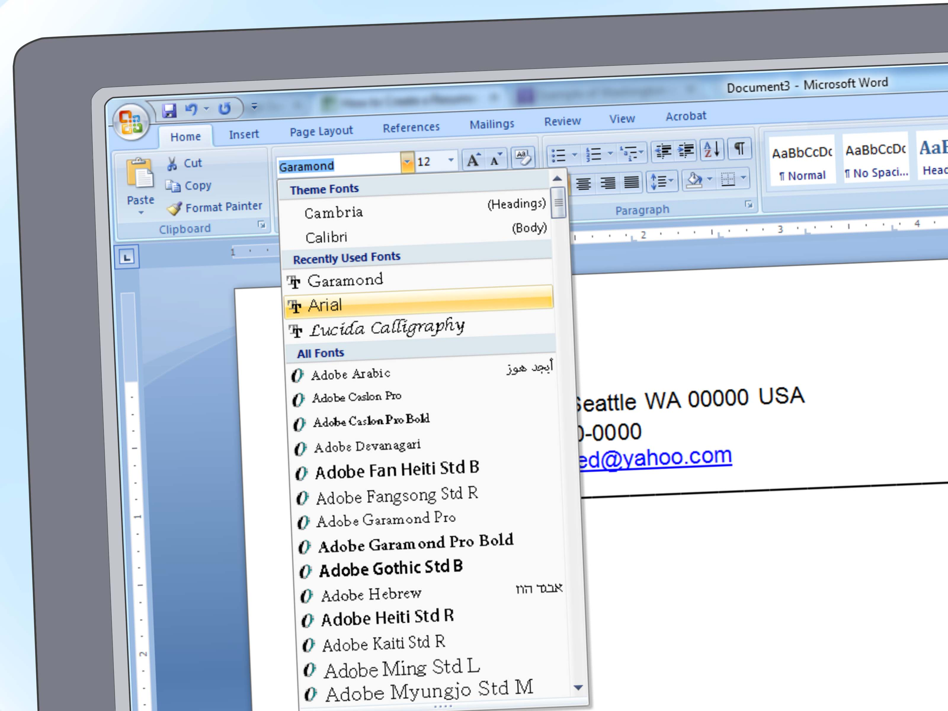 how to create a resume on word 2007
