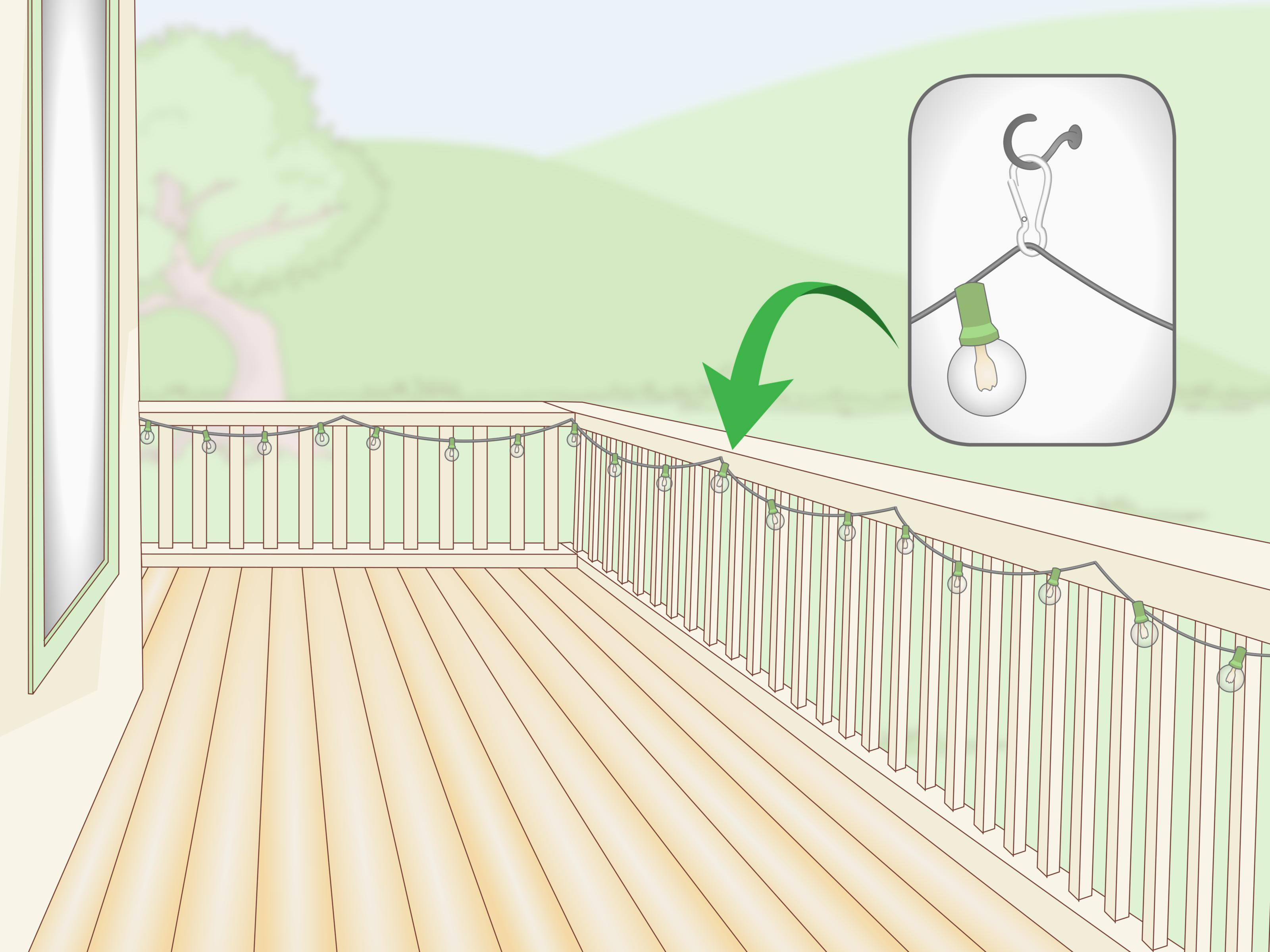 3 Simple Ways To Hang Outdoor String Lights On A Deck Wikihow