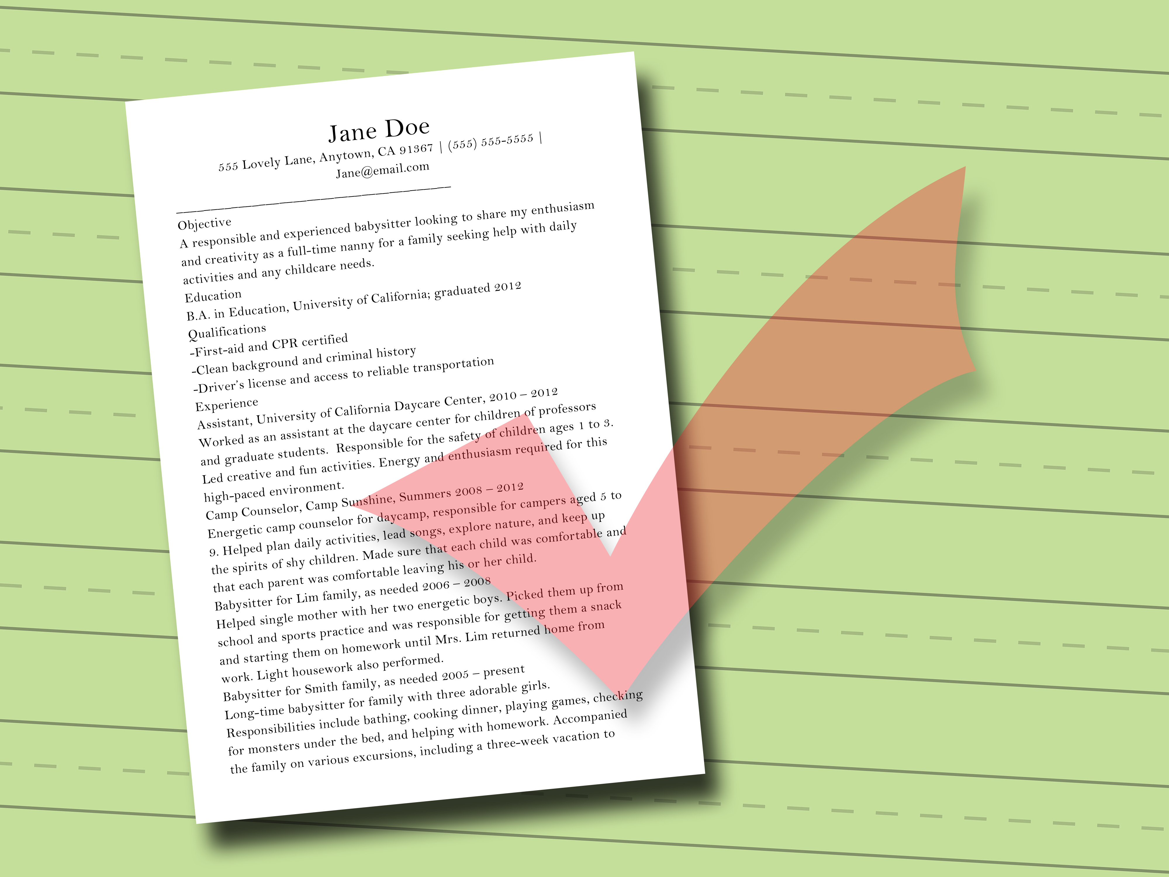 how to write a resume for child care job