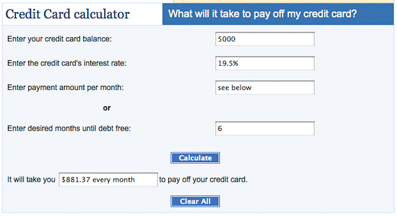 payment calculator credit card interest