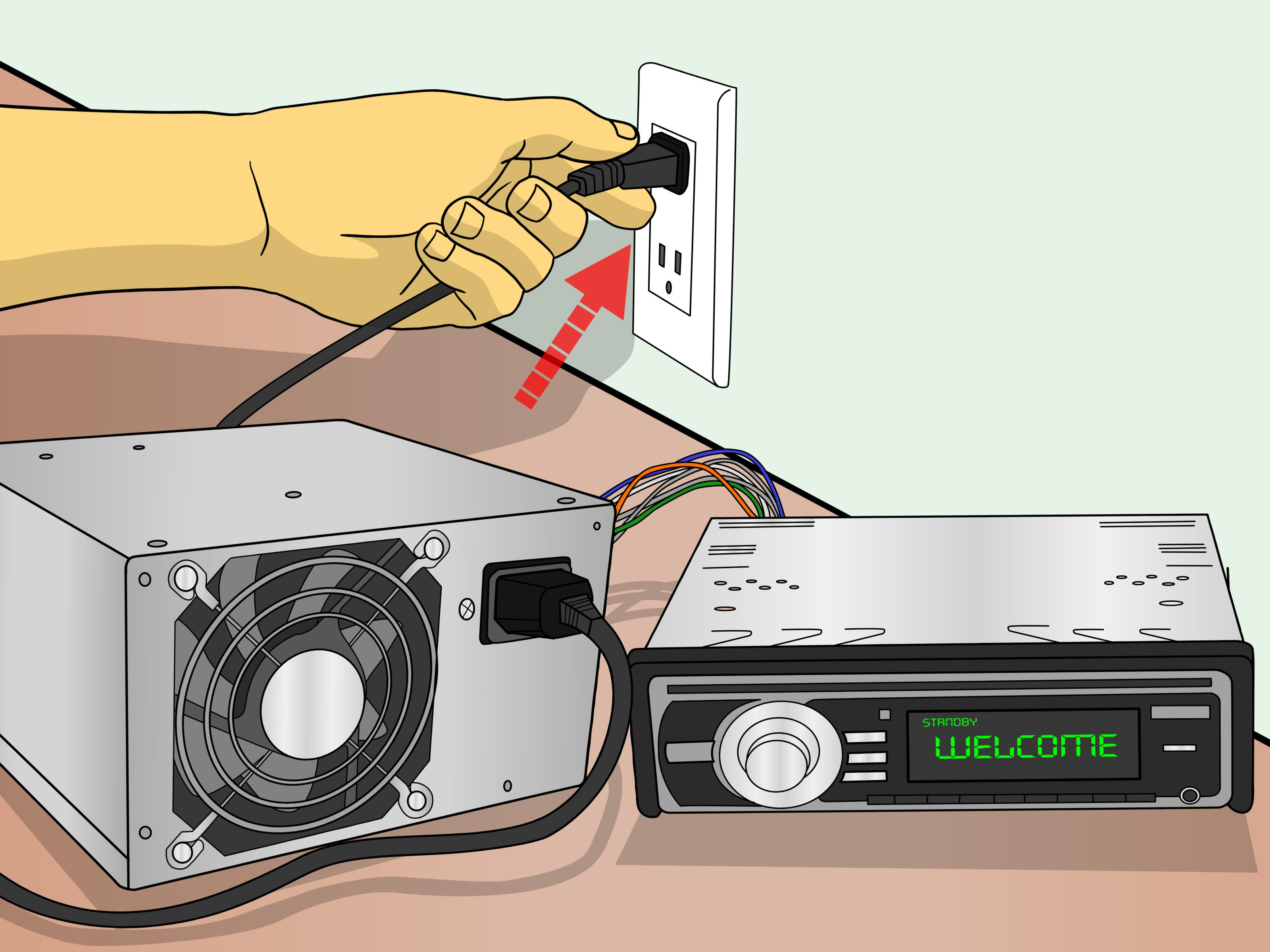 powered subwoofer home audio wiring diagrams diagram program 0f igesetze de how to connect a car stereo for house use with psu 11 steps rh wikihow com