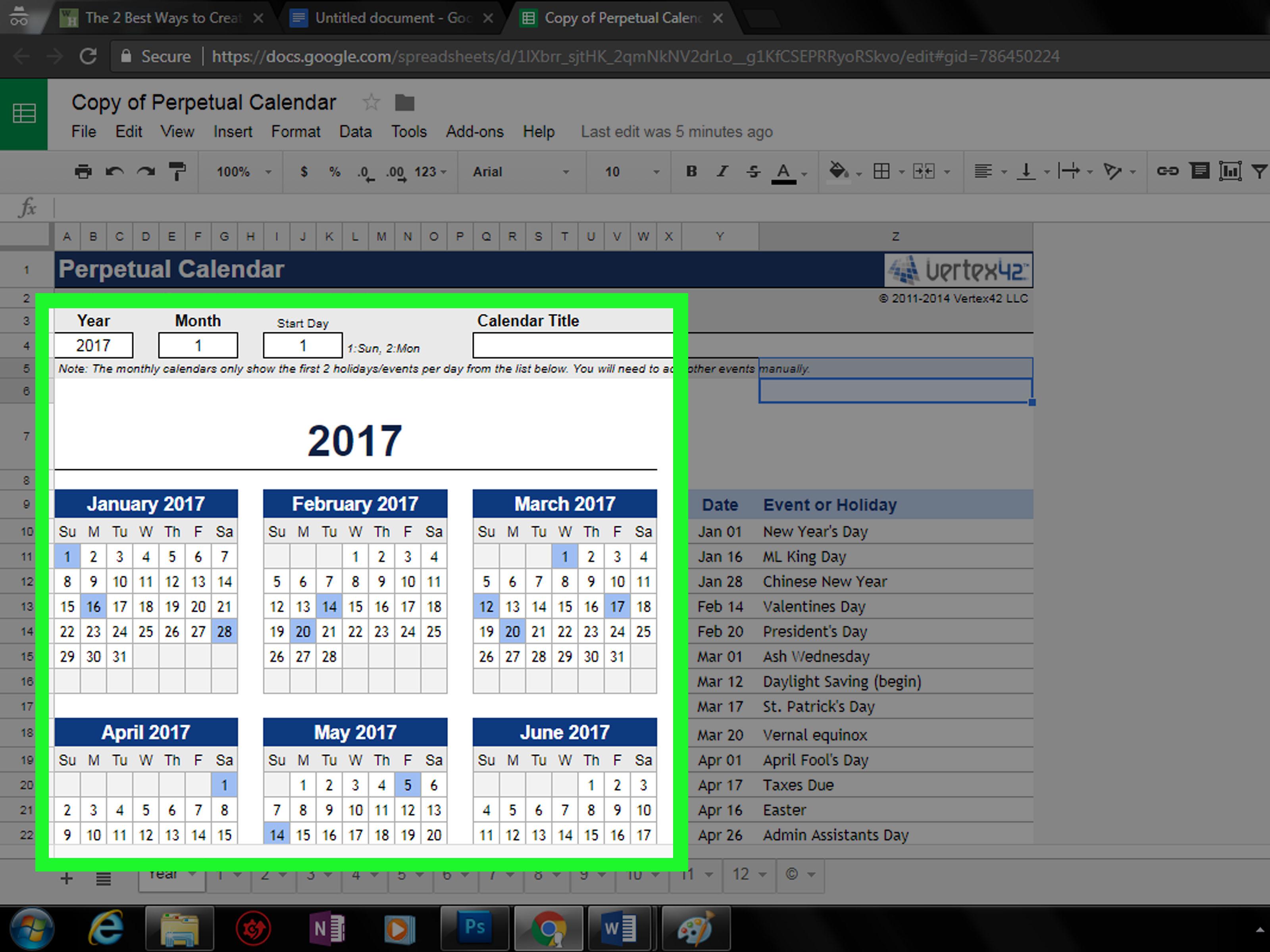 google docs 2019 calendar