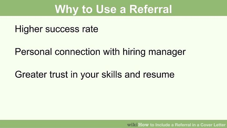 how to include referral in cover letter